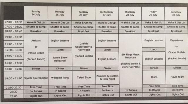 Bir haftalık ders/aktivite programı